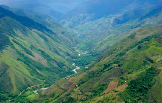 peru s monzon river valley shows a patchwork of coca fields